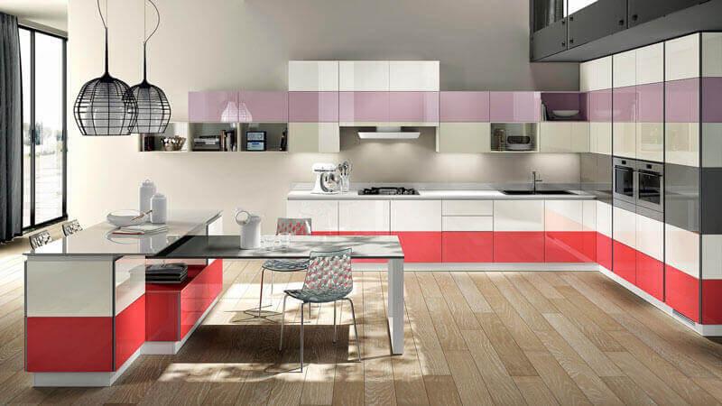 lila kırmızı beyaz mutfak
